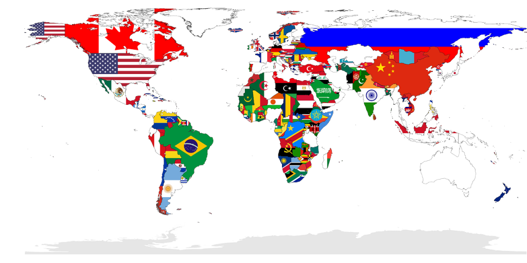 World globe/flags
